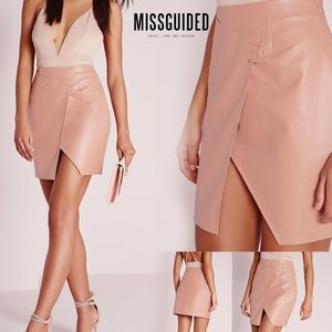 MISSGUIDED faux leather high waist wrap mini skirt
